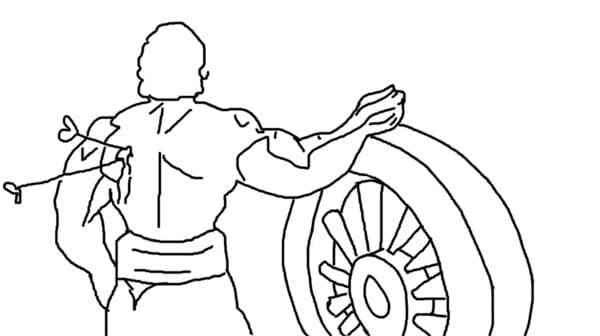Abhimanyu fighting against Kauravas
