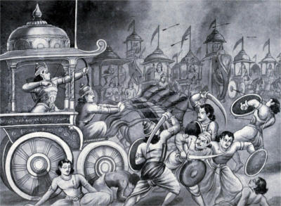 Abhimanyu Killing Warriors