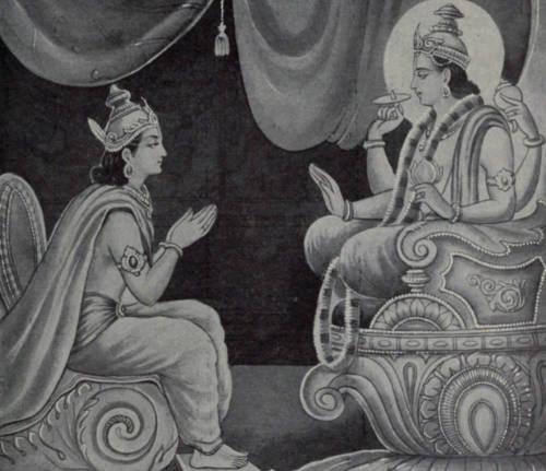 Indra requesting Vishnu