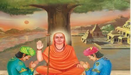 Vidyaranya blessing Harihara and Bukkaraya