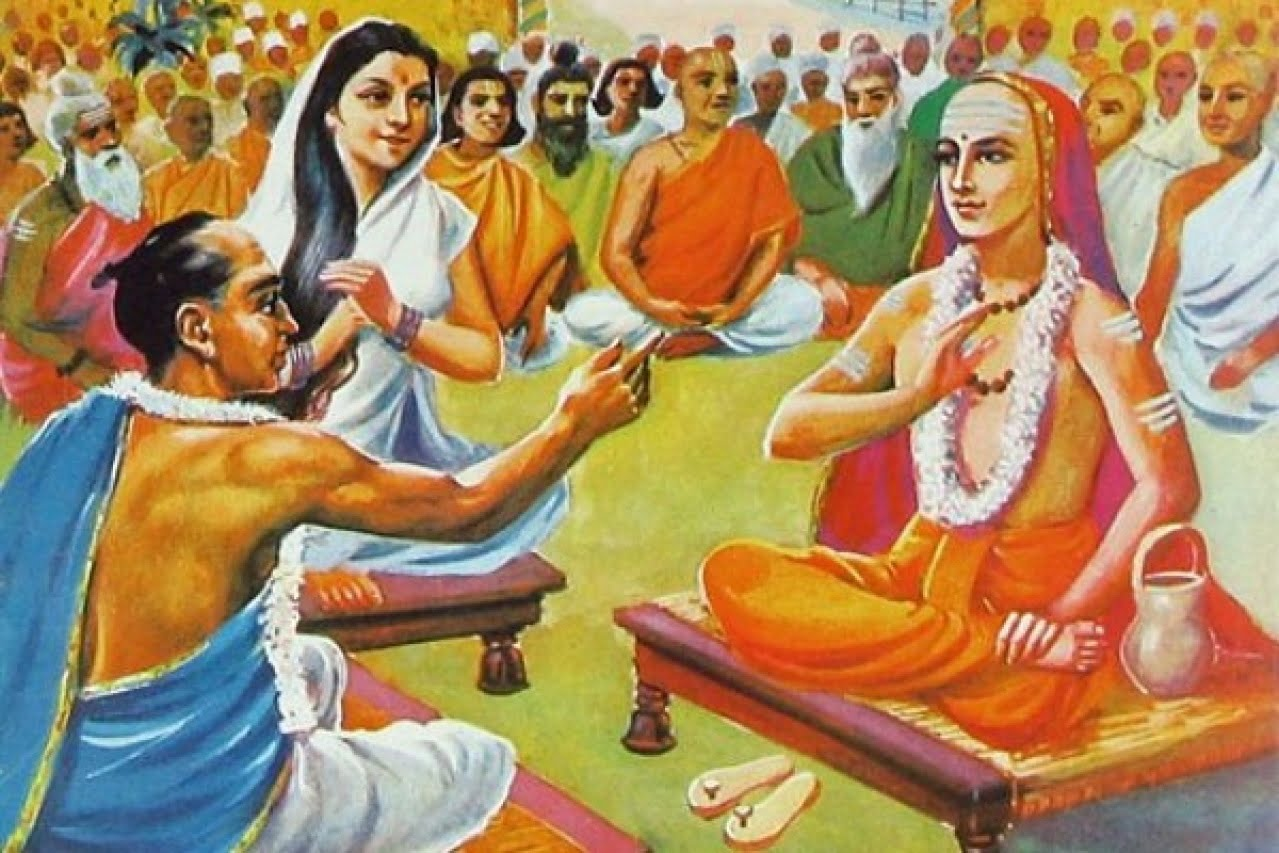 Adi Shankaracharya and Mandana Mishra Debating