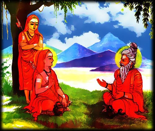 Adi Shankaracharya withih his Guru
