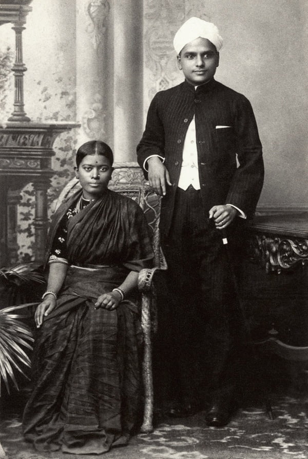 CV Raman with wife Lokasundari Ammal