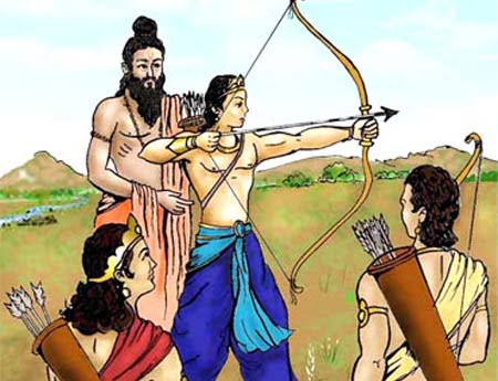 Dronacharya Teaching Arjuna