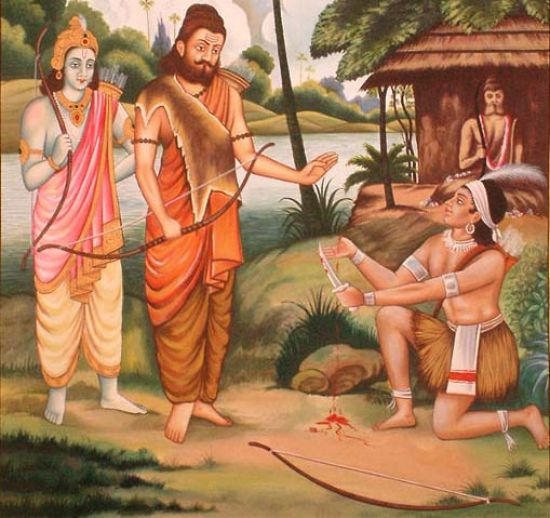 Eklavya offering right thumb to Dronacharya