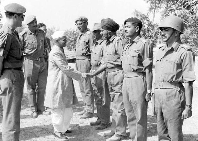 Lal Bahadur Shastri with the Army