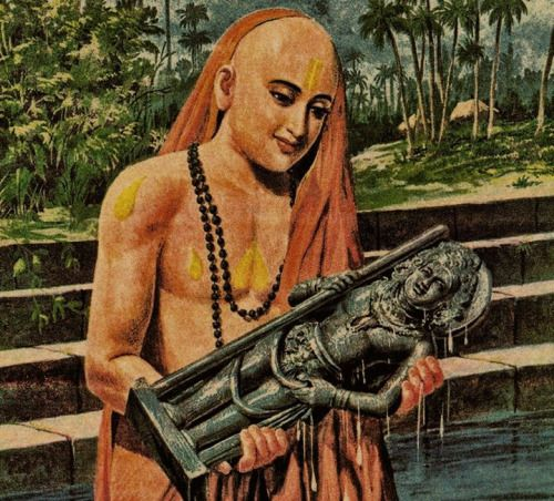 Madhvacharya follwing his dream and installing Udupi Krishna