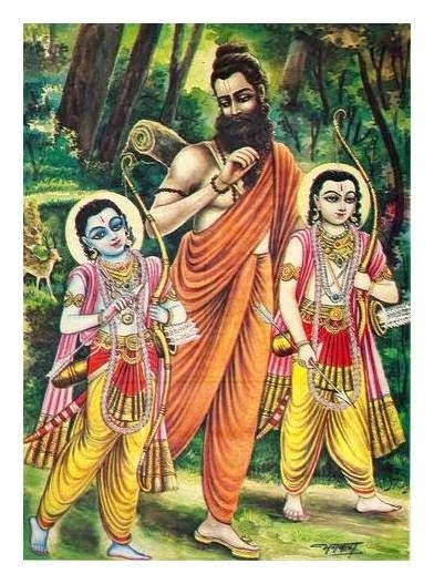 Rama and Lakshmana with Vishwamitra in the forest