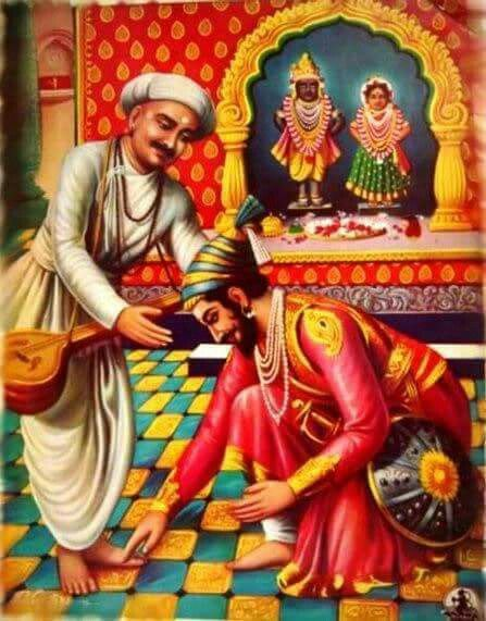 Shivaji Maharaj taking blessings from Tukaram Maharaj