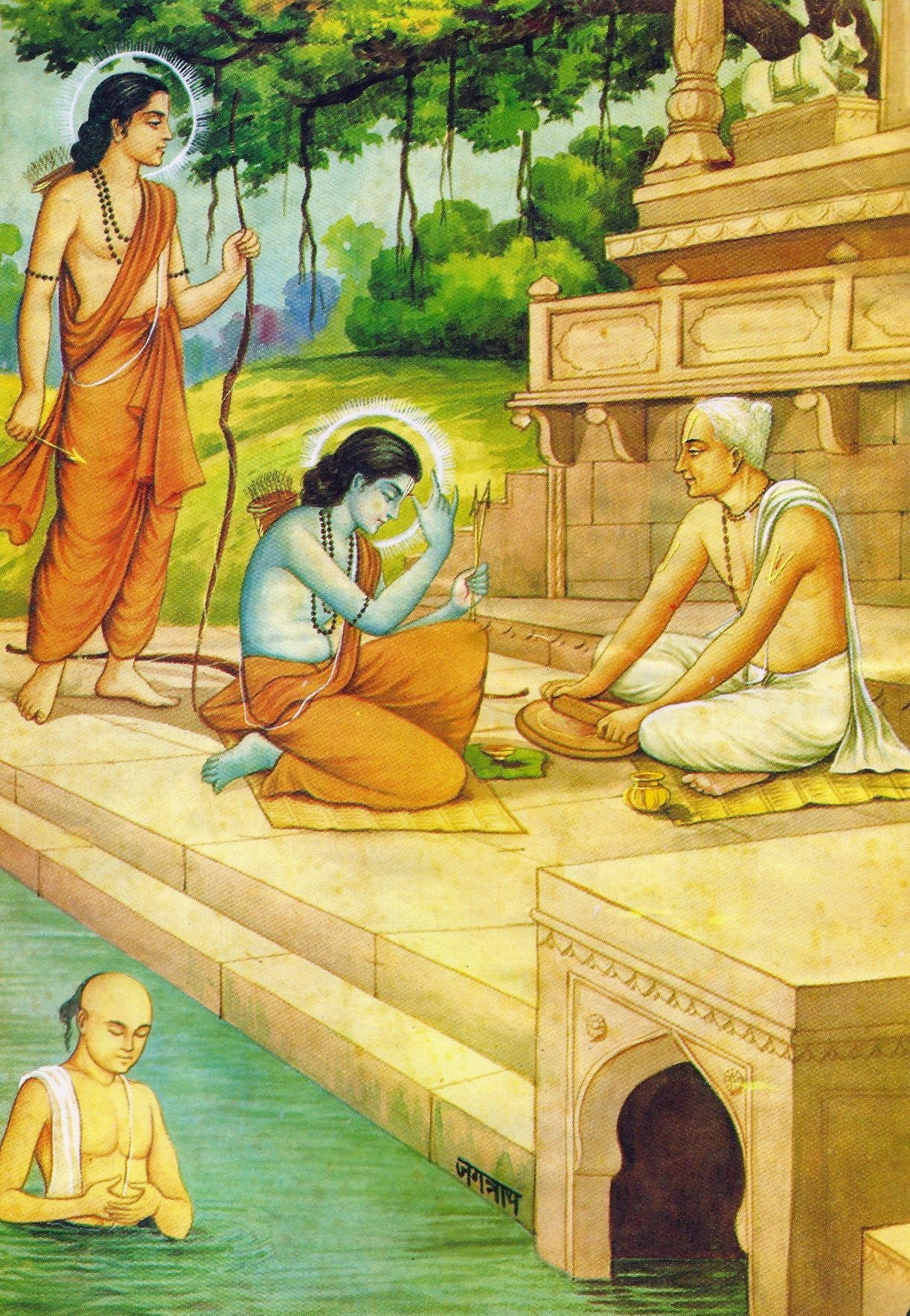 Tulsidas getting darshan of Sriram and Lakshman
