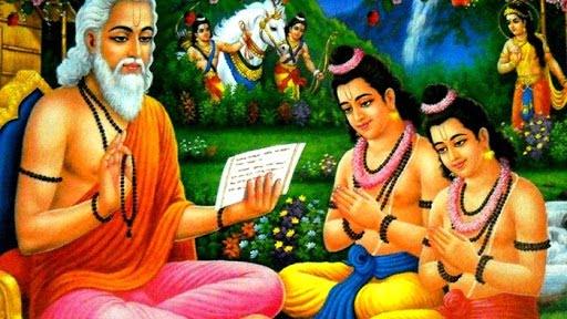 Valmiki teaching Ramayana to Lava and Kusha
