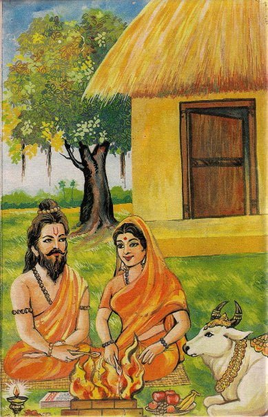 Vasishta Maharshi with Arundhati in hermitage