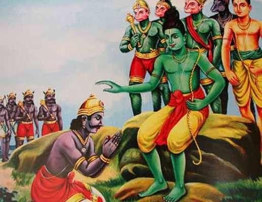 Vibhishana Prostrating before Srirama
