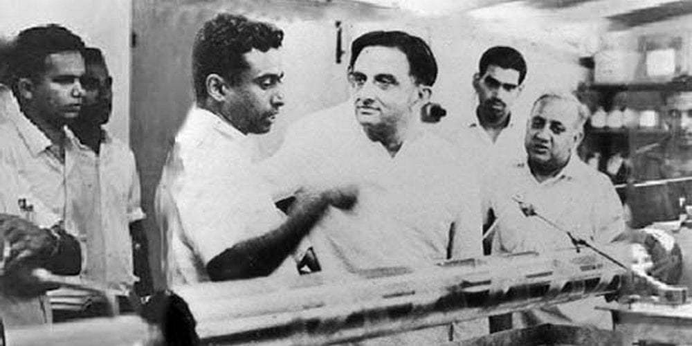 Vikram Sarabhai with his students in the Laboratory