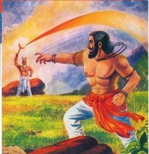 Vishwamitra attacking Vasishta. Vasishta defending with Brahmadanda