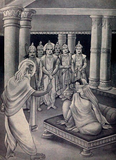 Vyasa consoling Gandhari