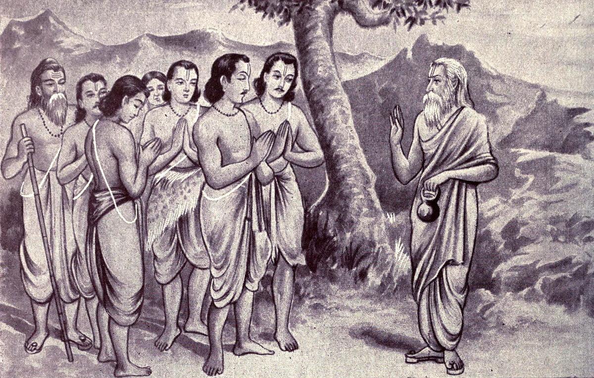 Vyasa consoling Pandavas
