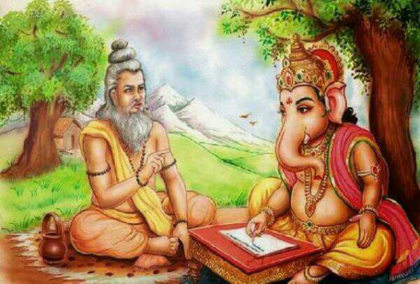 Vyasa dictating Ganesha writing