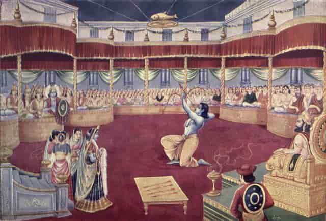 Arjuna attending Draupadi Swayamvar and winning it