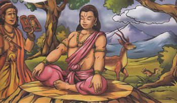 Dhruva meditating on Vishnu
