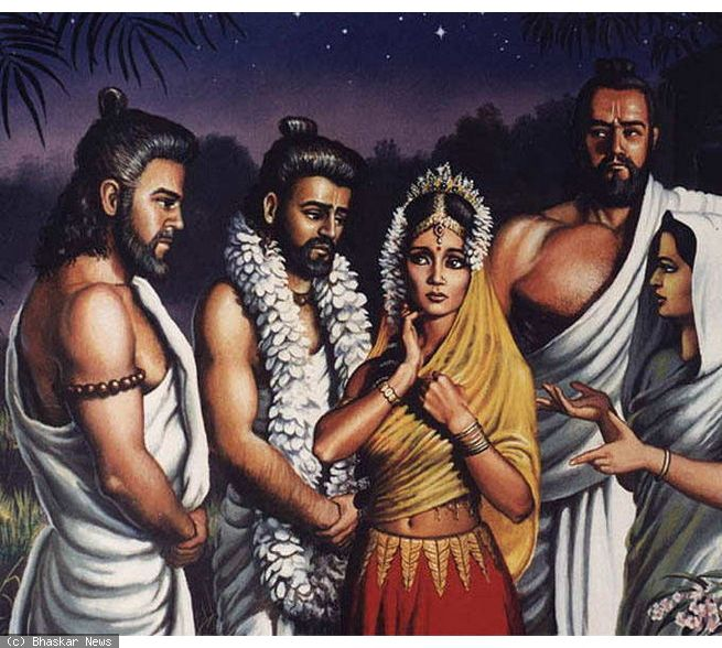 Draupadi and Pandavas in the Forest