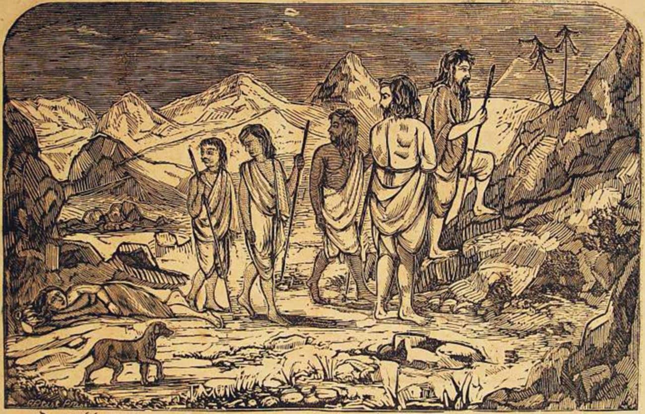 Draupadi falls while going with Pandavas