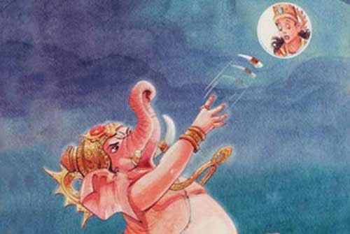 Ganesha curses moon
