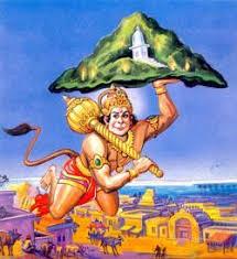 Hanuman carrying Mrita Sanjeevini Mountain