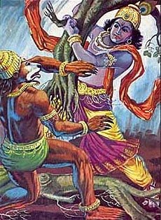 Krishna and Jambuvanta fight for Shamantaka Gem