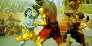 Lord Krishna, Balarama fight Mushtika and Chanura