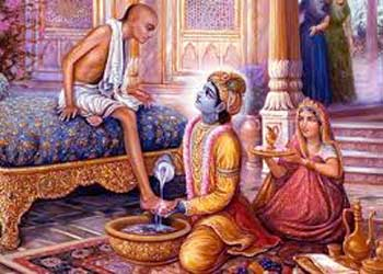 Lord Krishna treats Kuchela in his palace