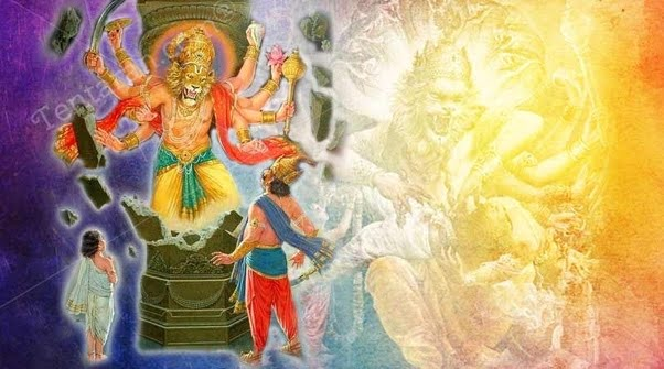 Narasimha emerges out of a pillar to kill Hiranya Kashupu as Prahlada watches