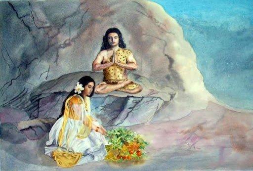 Parvati worshipping Shiva