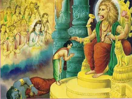 Prahlada blessed by Narasimha, an avatar of Vishnu