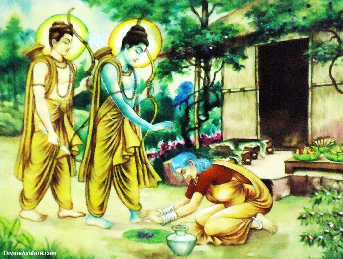 Rama and Lakshmana visit Shabari