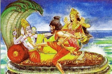 Sage Durvasa kicking Vishnu on heart
