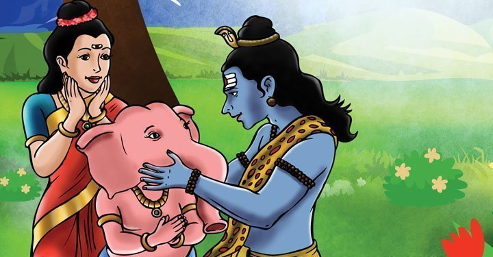 Shiva brings back Ganesha to life