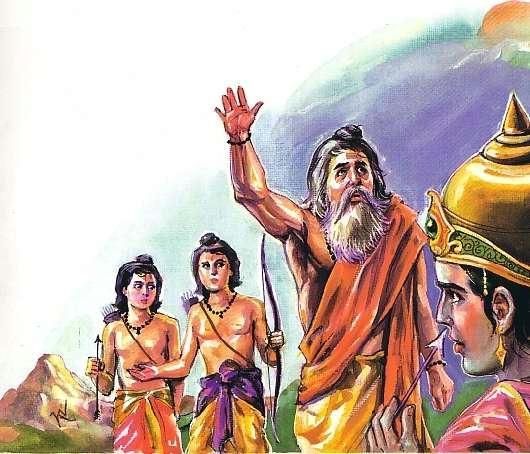 Valmiki Arrives at the end of the war of Lava Kusha