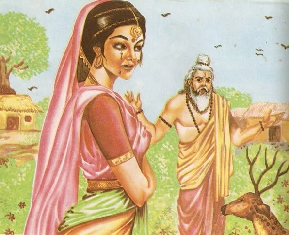 Valmiki takes Sita to his hermitage