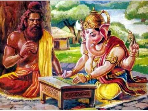 Vyasa dictates Ganesha writes