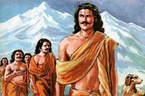 yudhishthira with his brothers climbing mountain